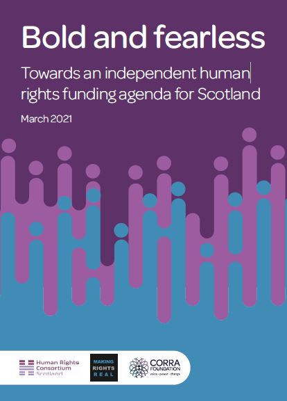 Image of purple report cover with title 'Bold and Fearless, woards an independent human rights funding agenda'
